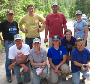 Part of the crew from the July 9 and 10 work weekend on Regal Creek Trail #556. (Rear, L to R: Sandy Compton, FSPW staff; David Betts, USFS; Jim Doudna and Melissa West, FSPW volunteers. Front, L to R: Dennis and Jody Aslett, FSPW volunteers; Lauren Mitchell, FSPW intern; and Mikaila Bristow and Carly Dexter, USFS.