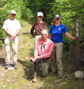 The Sunday crew included (L to R) volunteers Rodd Gallaway, Denise Zembryki, Ron Mamajek, and FSPW summer intern Lauren Mitchell