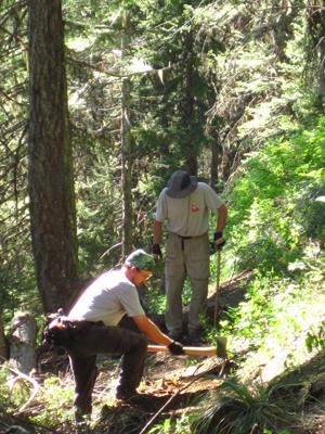 Chuck Gross (front) and Matt Davidson rebuilding tread on Pillick Ridge