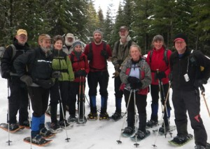 This group snowshoed into the East Fork of Blue Creek in the Scotchman Peaks to set up a wolverine bait station