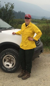Forest Service truck and uniform. Friends of Scotchman Peaks hat!