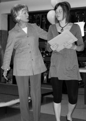 Olivia Guthrie accepts the congratulations of FSPW board member Carol Jenkins for her winning 2010 Scotchman Peaks essay. Olivia recieved $500 for submitting the best essay overall in this years competition. Read the entire piece below.