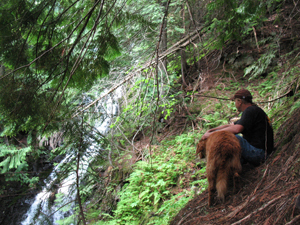 The upper falls, my Dad and Lucy