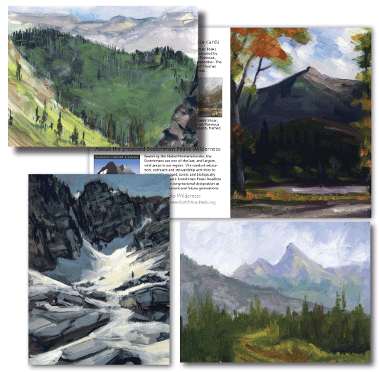 This set of four note cards depict paintings from the Extreme Plein Air and the Scotchman Peaks Paintout. Clockwise from upper left, 48-Hour Pass by Aaron Johnson, Scotchman Peak by Gregg Caudell, Sawtooth Mountain by Kenny Olsen, and Melissa Basin by Jared Shear