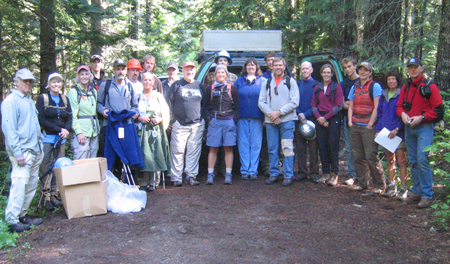 Friends and the Forest Service, ready to go to work on Trail #65