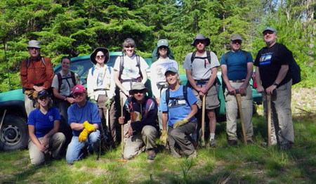 The Saturday trail crew on Pillick Ridge: (front row, L to R) Lauren Mitchell, Sandy Compton, Steve Blanck and Holly Clements. (Back row, L to R) Dave Pietz, Kari Dameron, Jan McCleod, Deb Hunsicker, Denise Zembryki, Matt Davidson, Rodd Gallaway and Phil Hough