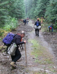 Even not-so-nice weather didn't stop intrepid FSPW volunteers and USFS employees from planting trees. Sandii Mellen (foreground) swings a mean hoedad.