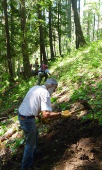 FSPW Volunteer John Harbuck demonstrates the proper use of a Pulaski on the Star Peak rebuild project.