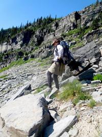 hiking on rock