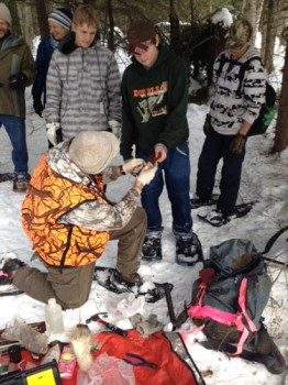 Brian Baxter with students at one of FSPW's first Winter Tracks programs.